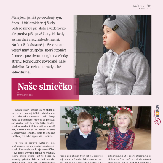 Naše slniečko – článok v časopise Slnečnica